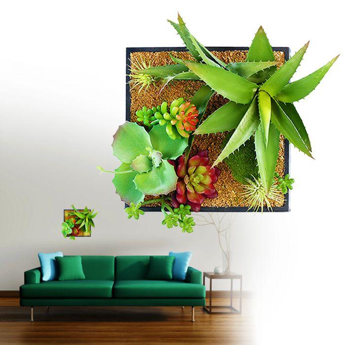 Vertikaler Garten fr die Wand mit DekoPflanzen auf Sand