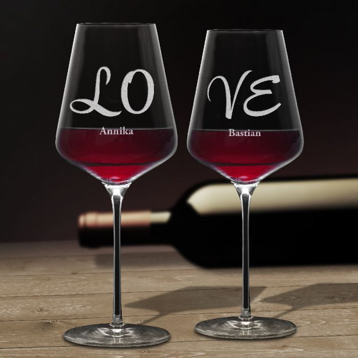 Weinglser Love  2er Set  romantisches Geschenk fr