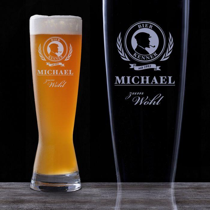 Weizenglas mit Gravur  Bier Kenner personalisiertes