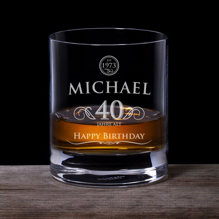 Whiskyglas 40 Geburtstag  elegant mit personalisierter Gravur