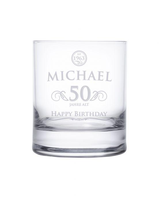 Whiskyglas 50 Geburtstag  elegant mit personalisierter Gravur