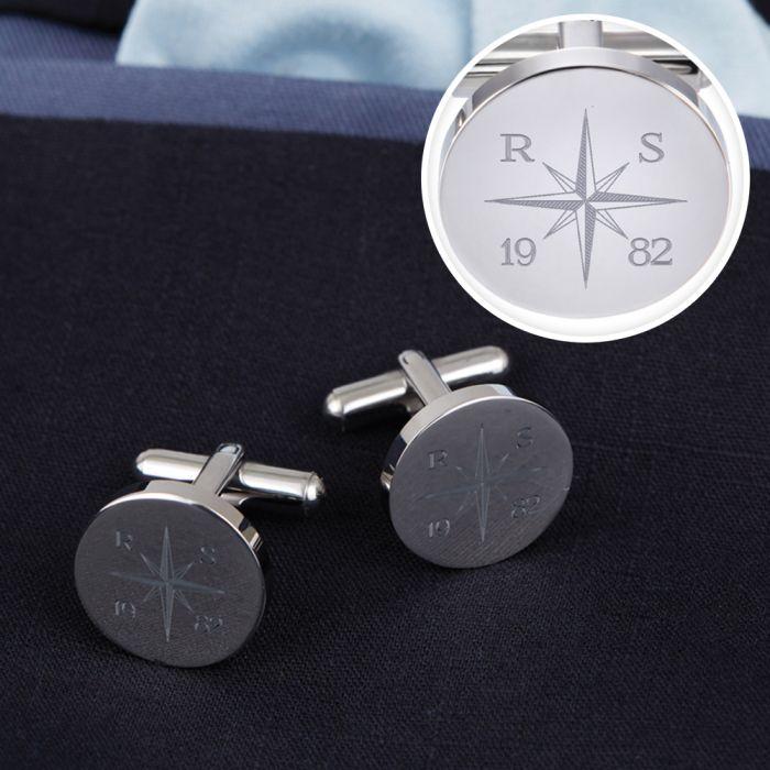 Manschettenknpfe Silber  rund  Kompass mit Gravur