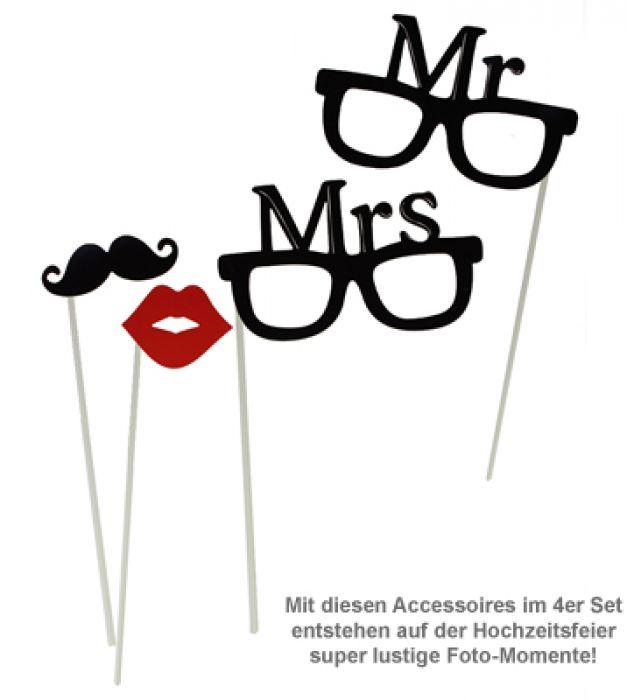 Foto Accessoires zur Hochzeit  Mr and Mrs Set fr Photo Booth