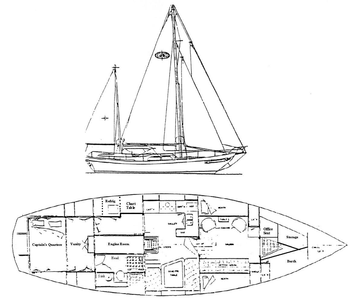 1978 Used Island Trader 45 Cruiser Sailboat For Sale