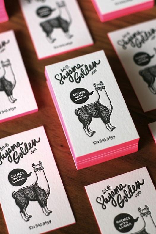 Letterpress business cards: Shyama Golden