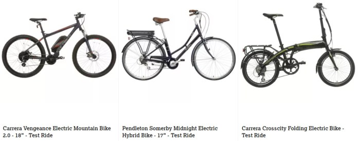 Three of the electric bikes available for a test drive in Halfords