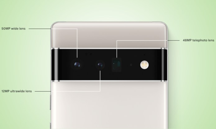 A diagram of the Google Pixel 6 Pro's rear camera block, showing the main, ultra-wide, and telephoto cameras