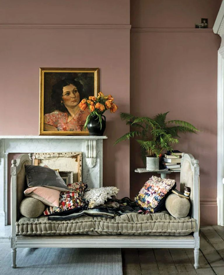 Bedroom in Sulking Room Pink by Farrow & Ball