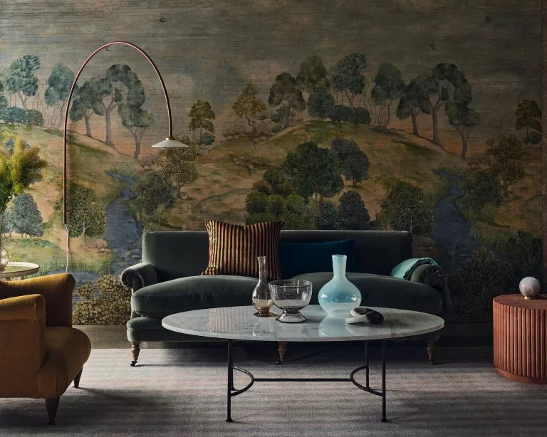Living room fall decor with landscape mural