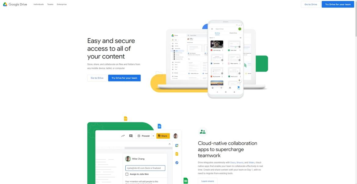 Google Drive's homepage, describing features
