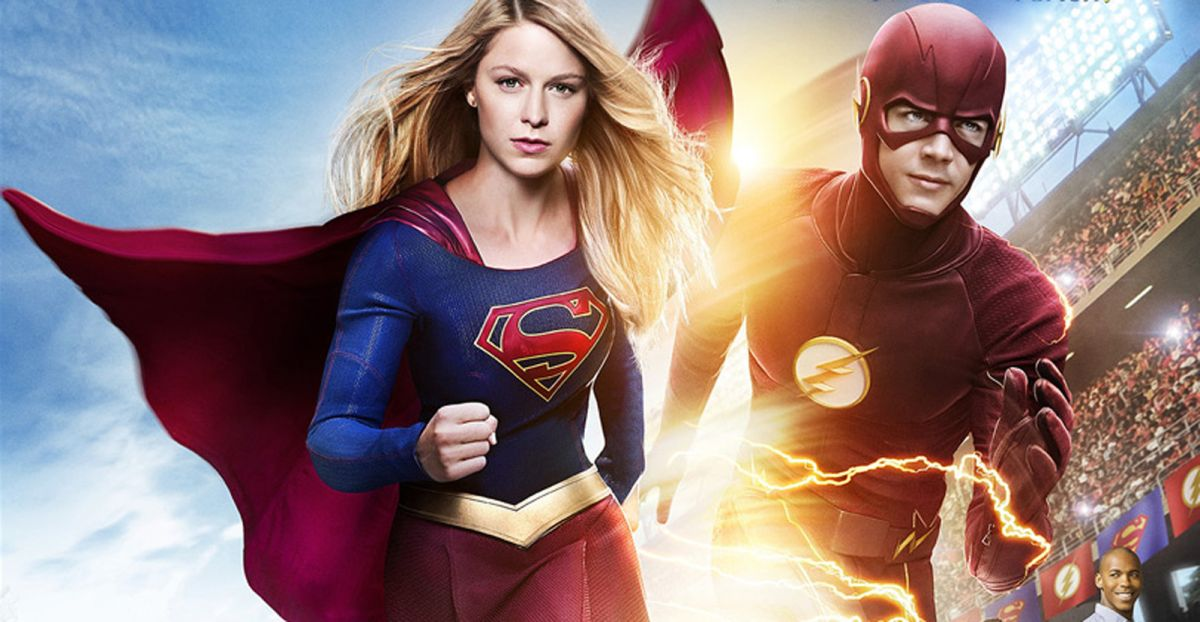 Wallpaper Racing Girl The Flash Supergirl Crossover Poster Unites The World S