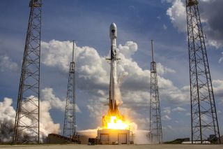A SpaceX Falcon 9 rocket launches the GPS III-SV03 mission for the U.S. Space Force on June 30, 2020.