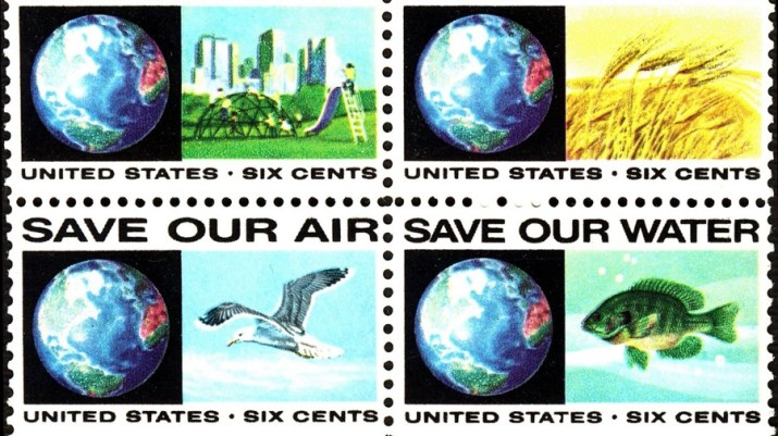Image of US stamps highlighting environmental issues
