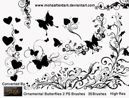 free Photoshop brushes: butterflies