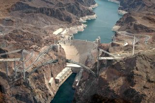 An aerial view of the Hoover Dam in 2009.