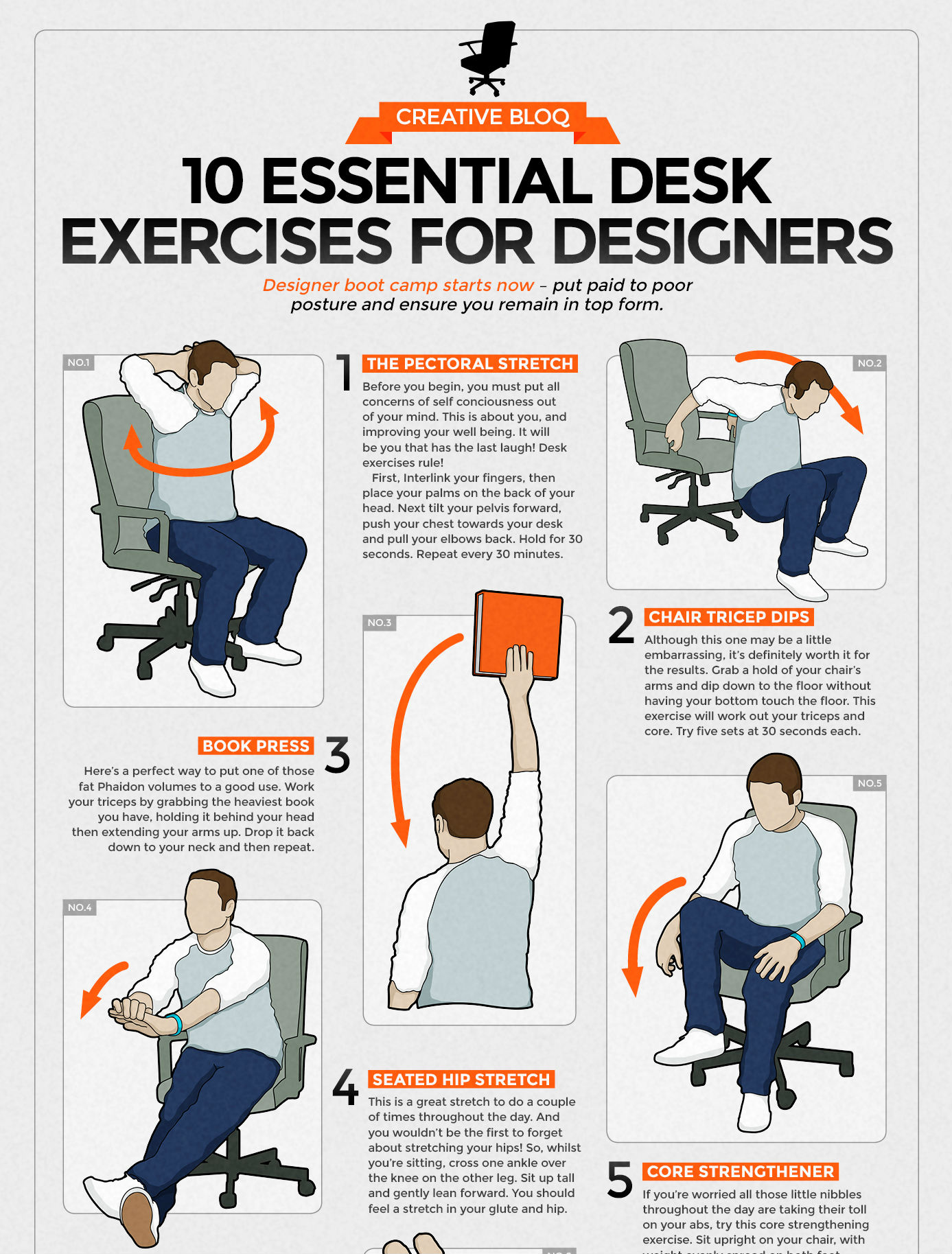 Image shows 10 illustrated exercises for designers, including stretches and core strength movements