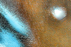 Strange blue structures glow on Mars in a new NASA image