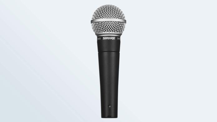 The Shure SM58 over a static backdrop