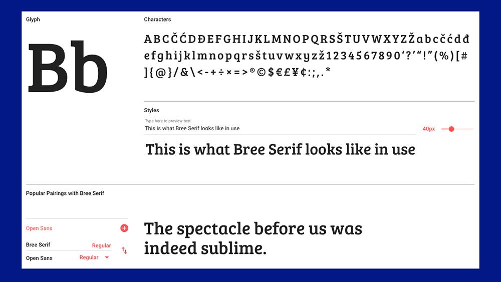 Bree serif font specimen