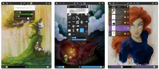 Drawing apps for iPad: Three illustrations on iPad screens
