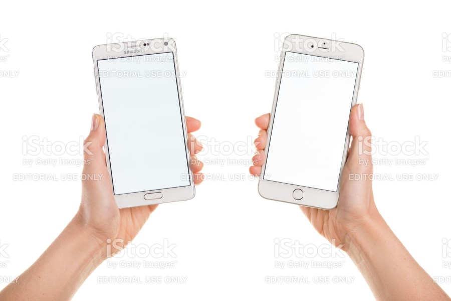 Blank Samsung Galaxy Note 4 and iPhone 6 phones