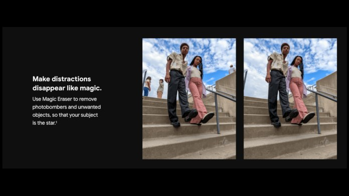 Part of the leaked marketing materials for the Google Pixel 6 Pro, showing how the Magic Eraser feature works by removing people from the background of an image