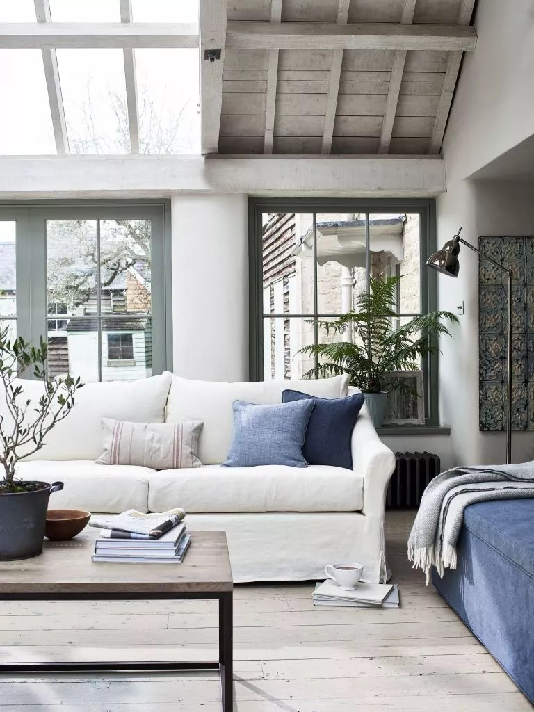 Light grey and blue living room