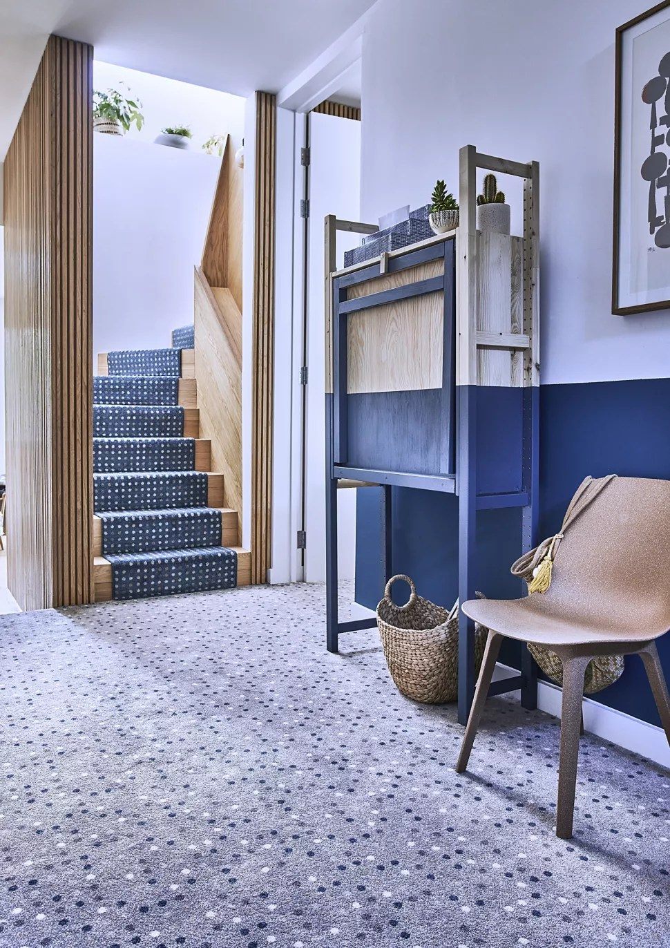 small hallway ideas with carpeted flooring