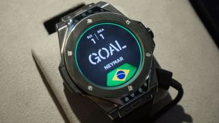 A demo of what it looks like on the Hublot watch when a goal is scored