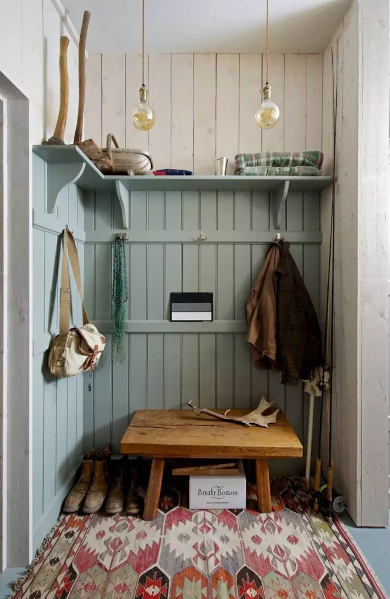boot room with coat hooks tongue and groove panelling shiplap walls