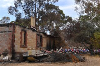 Bushfire damage along the route at theTour Down Under