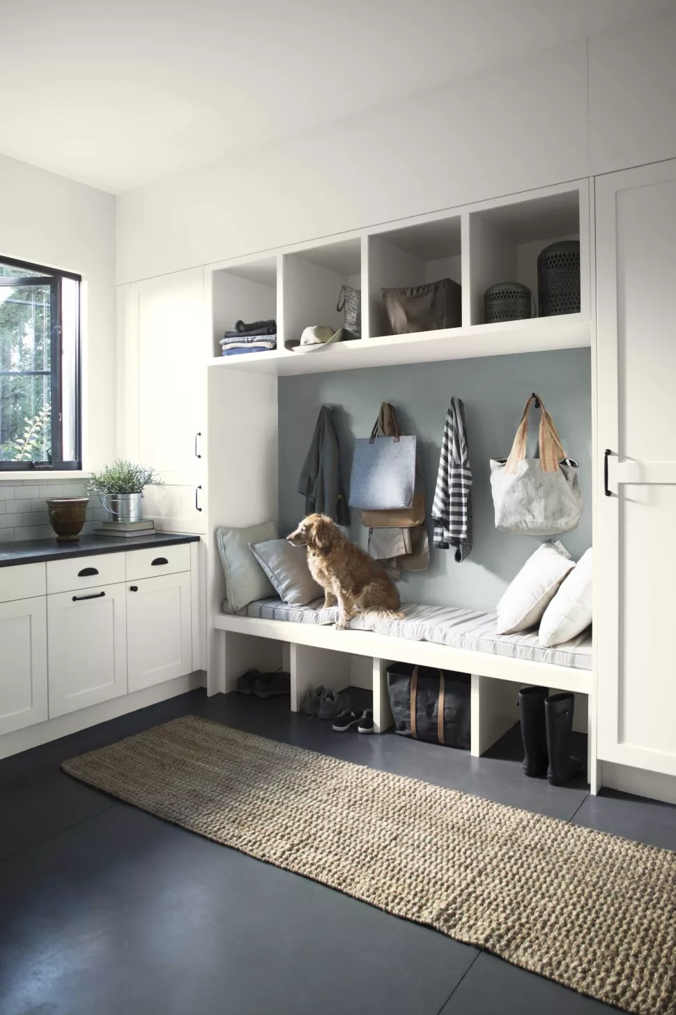 small hallway idea with built in storage
