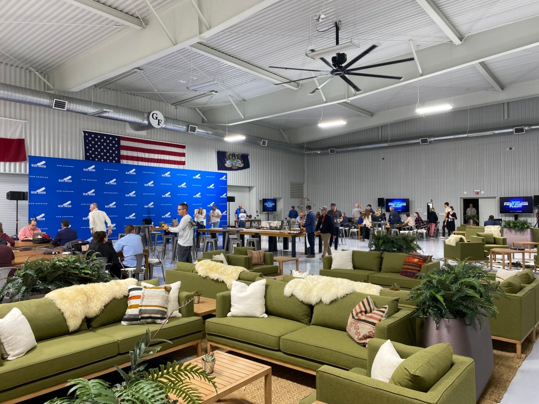 Space.com senior writer Mike Wall captured this photo of the press hangar at Blue Origin's Launch Site One for the July 20, 2021 launch of Jeff Bezos and three others on the First Human Flight mission from West Texas near Van Horn.