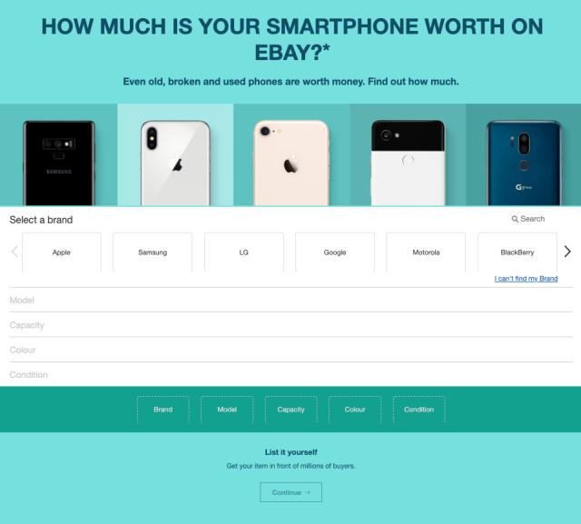 eBay Australia's phone price calculator