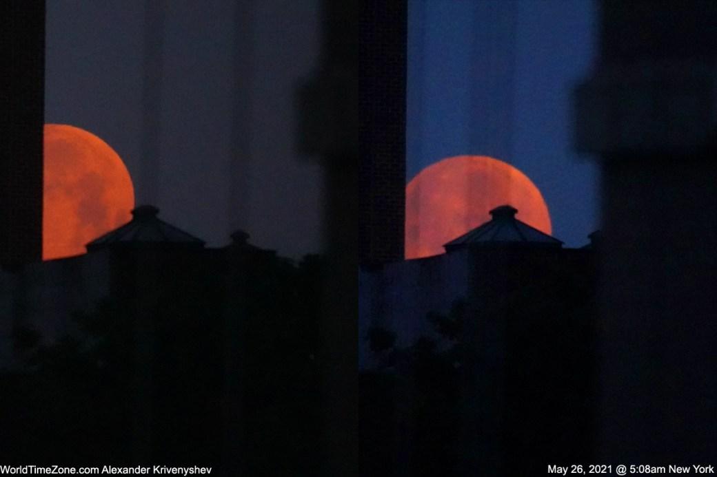 Alexander Krivenyshev, do WorldTimeZone.com, capturou essas fotos do eclipse lunar da Super Flower Blood Moon em 26 de maio de 2021 na cidade de Nova York.