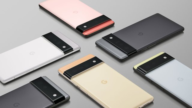 Six Google Pixel 6 and 6 Pro lying face down on a surface