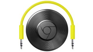 The Google Chromecast Audio and a yellow cable