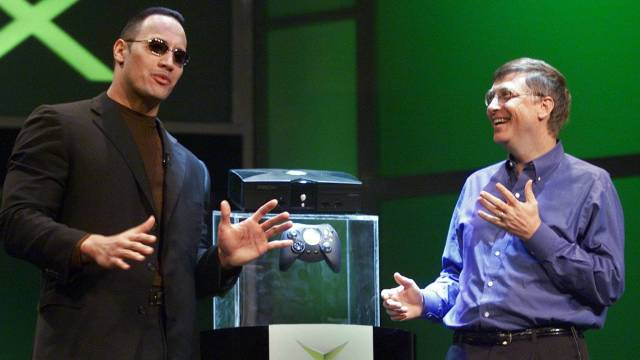 The Rock and Bill Gates at the Xbox reveal