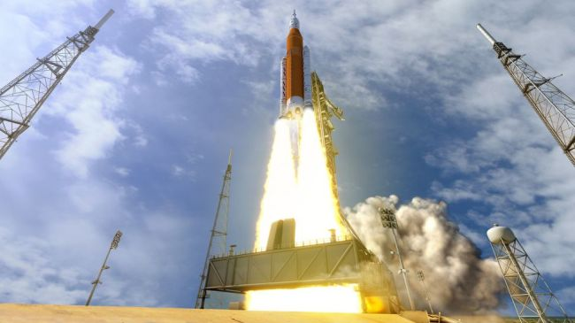 Artist's illustration of NASA's Space Launch System megarocket launching the Orion crew capsule.
