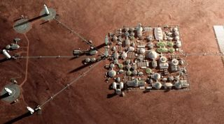 Artist's impression of a city on Mars, which SpaceX wants to help establish with its Starship transportation system.