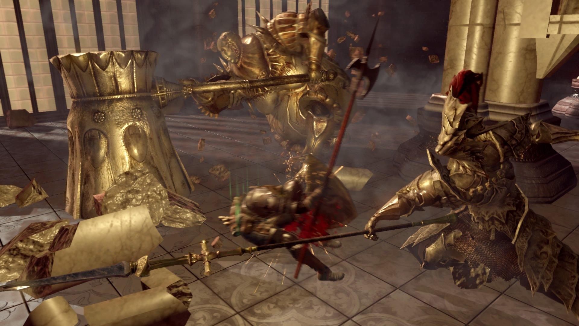 Dark Souls Ornstein and Smough boss fight