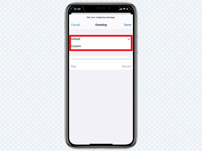 how to setup voicemail select greeting