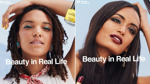 Beauty advert showing two unaltered portraits of women