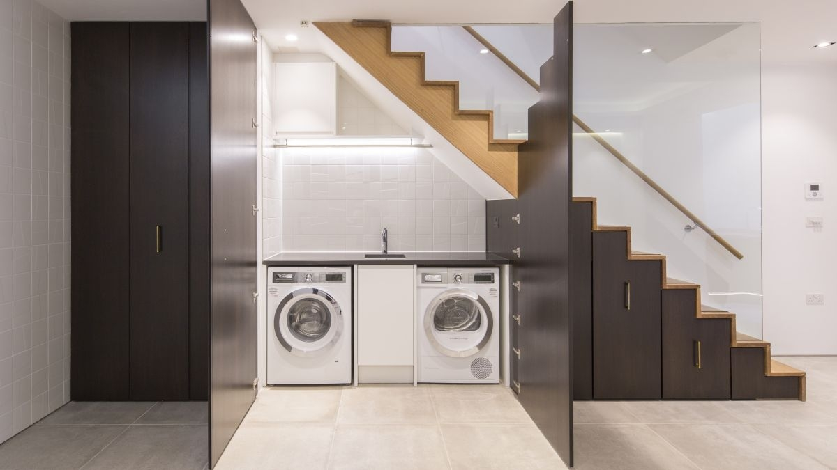 12 Small Utility Room Ideas – Stylish But Practical Revamps Real | Clever Stairs For Small Spaces | Staircase | Upstairs Small Space | Front Window | Small Area | Mini