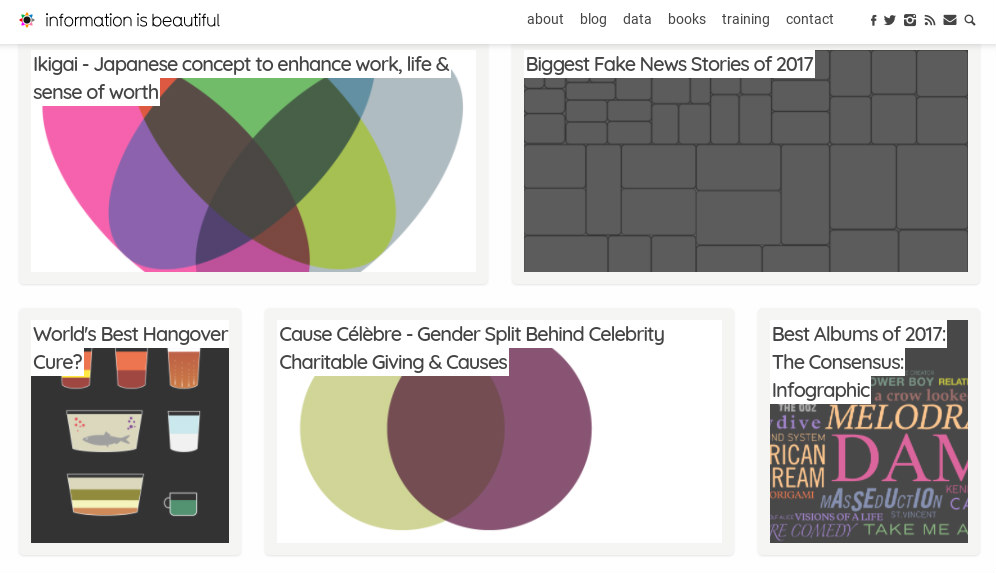 Screengrab shows the Information is beautiful homepage with different articles on infographics