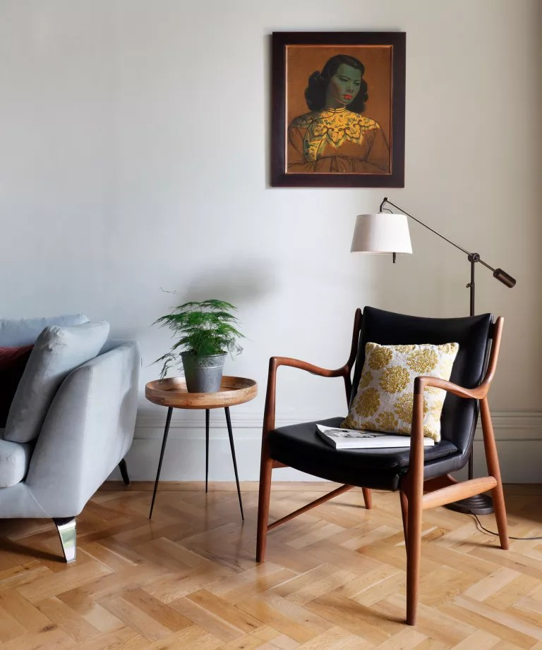 Mid-century modern living room with Scandi influence