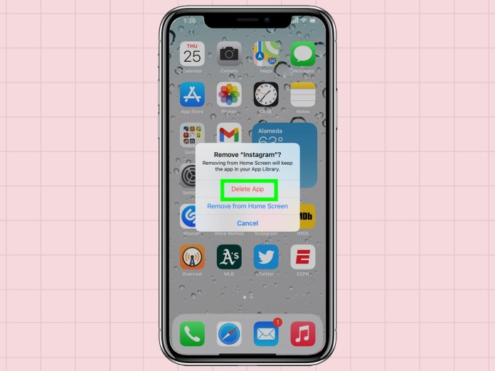 how to delete apps from an iPhone: select delete app