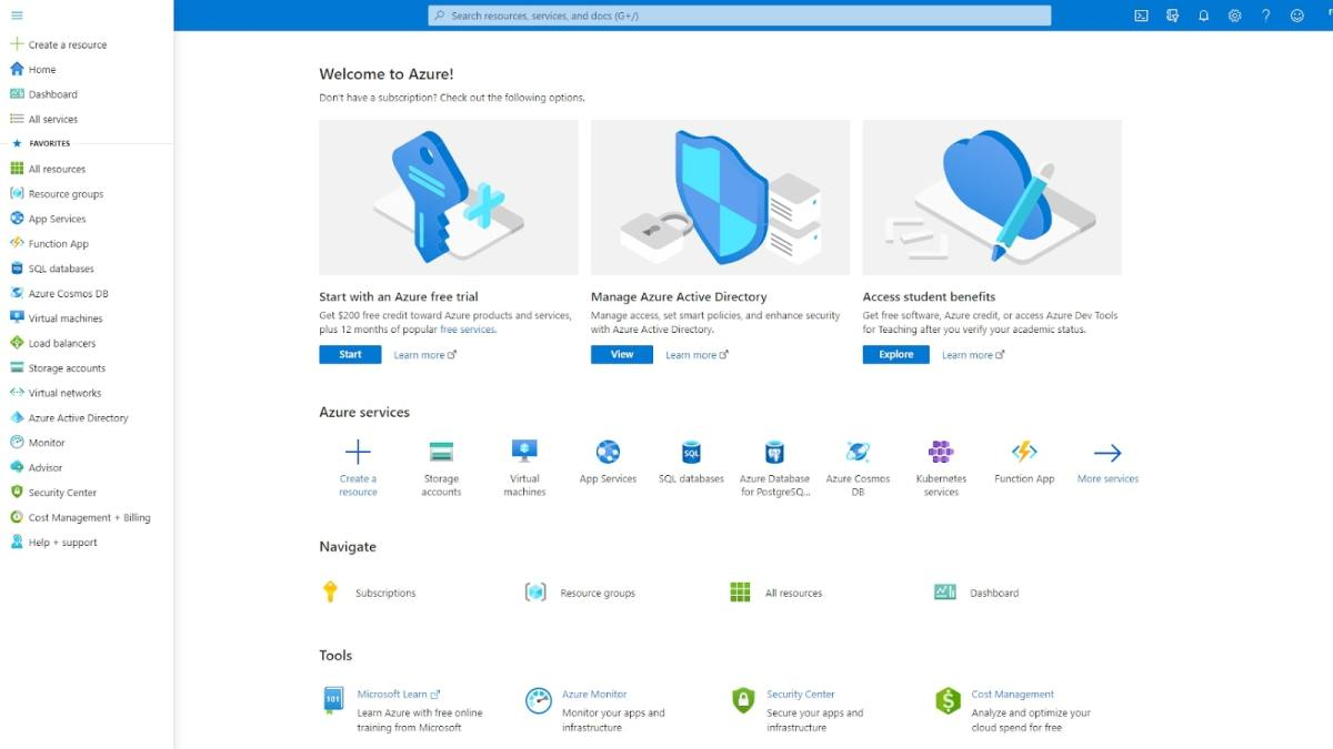 Microsoft Azure's user interface
