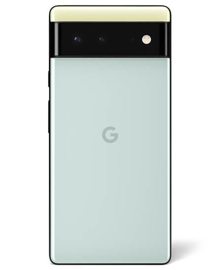 Pixel 6 in seafoam green