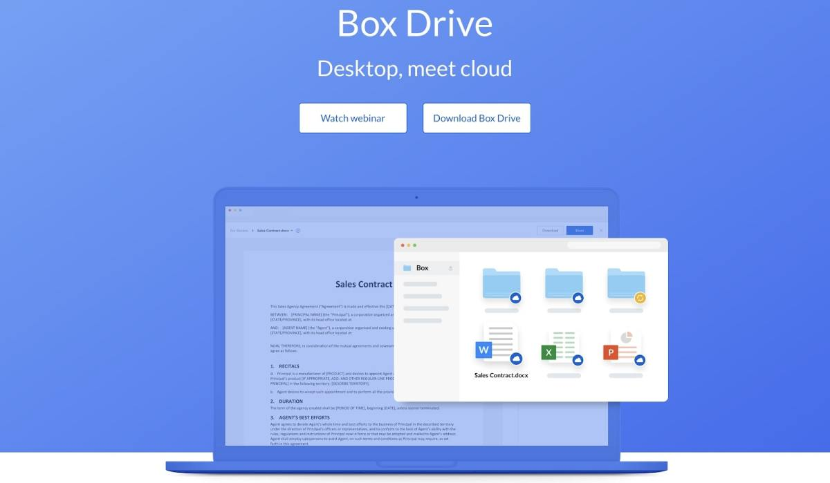 Box Drive's demonstration screen/download page